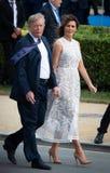 Дональд Трамп и Melania Trump на саммите НАТО Стоковые Изображения RF