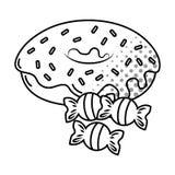 Донут и конфеты черно-белые бесплатная иллюстрация