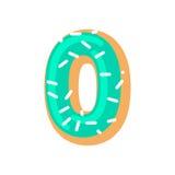 Донут 0 Шрифт нул донута помадка алфавита письмо конфеты Стоковые Изображения