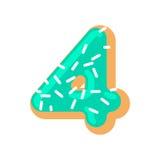 Донут 4 Шрифт 4 донута помадка алфавита письмо конфеты Стоковые Фото