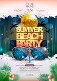 дополнительная форма диско предпосылки Плакат партии пляжа лета шарика диско иллюстрация вектора