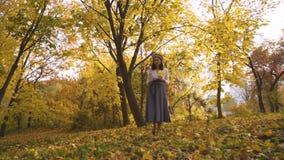 Дополнительное рискованное предприятие Женщина идет в парк на заходе солнца Девушка в длинной юбке среди деревьев 4K акции видеоматериалы