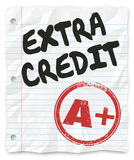 Дополнительный добавленный кредит указывает домашняя работа бумаги рассортированной школы результатов иллюстрация вектора
