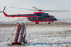 Доработанное для ледовитого вертолета trasport Mi-8 Стоковая Фотография RF