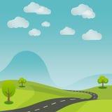 Дорога ландшафта лета сельская с предпосылкой природы Стоковая Фотография RF