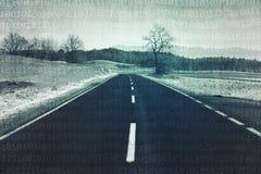 Дорога асфальта с предпосылкой двоичных чисел Стоковая Фотография RF