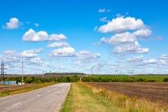 Дорога асфальта через зеленое поле и облака на голубом небе в летнем дне стоковая фотография rf