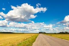 Дорога асфальта через зеленое поле и облака на голубом небе в летнем дне стоковые изображения