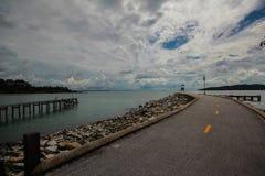 Дорога асфальта к морю стоковое фото rf