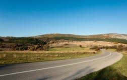 Дорога асфальта через зеленое поле и очищает голубое небо в дне осени Стоковое Изображение RF