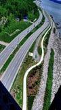 Дорога вдоль Рекы Святого Лаврентия в Квебеке (город) стоковые фото