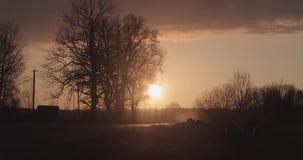 Дорога вечера весной против захода солнца акции видеоматериалы