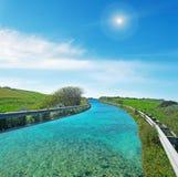 Дорога воды с солнцем Стоковая Фотография RF