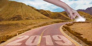 Дорога вперед к началу 2019 стоковые изображения rf
