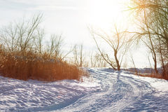 Дорога в вечере зимы Стоковые Изображения