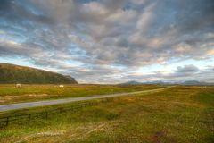 Дорога в гористой зоне к северу Норвегии Стоковое Фото