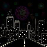 Дорога в городе ночи Фейерверки в ночном небе над иллюстрацией вектора города Звезды, горизонт и салют иллюстрация штока