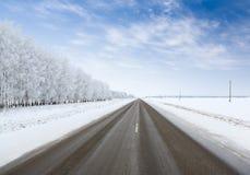 Дорога в зиме стоковые изображения