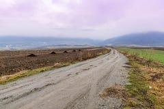 Дорога в ландшафт тумана Стоковое Изображение