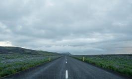 Дорога в национальном парке Landmannalaugar долины, Исландии в июле Стоковые Изображения RF