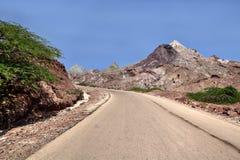 Дорога в острове Hormuz, провинция десерта Hormozgan, Иран Стоковая Фотография RF