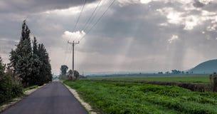 Дорога вдоль полей Стоковая Фотография RF