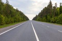 Дорога в поле, международный след в поле красивейшие зеленые холмы синь заволакивает пушистое небо стоковое фото