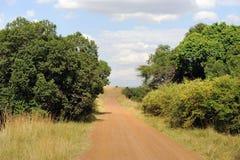 Дорога в саванне в национальном парке Кении Стоковые Изображения