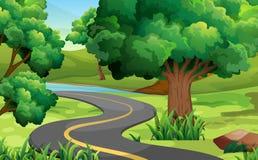 Дорога в середине парка иллюстрация штока