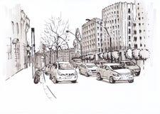 Дорога города с автомобилями эскиз Стоковое фото RF