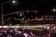 Дорога города ветреной ночи занятая Стоковые Изображения