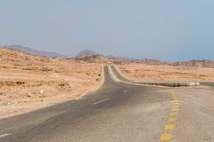 Дорога горы в пустыне Синая Стоковая Фотография