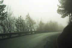 Дорога горы на туманнейший день Стоковые Фото