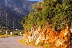 Дорога горы, отрезка утес до конца Бали, Крит Стоковые Изображения