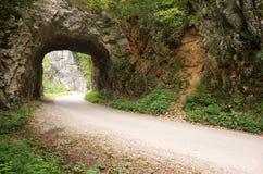 Дорога горы проходит через каменный тоннель Стоковые Изображения RF