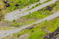 Дорога горы Trollstigen пути троллей в Норвегии Стоковое Фото