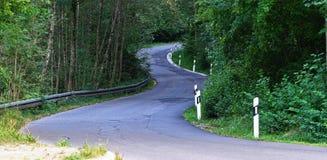 Дорога, гудронированное шоссе, обматывать гористый через древесины стоковая фотография rf