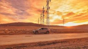 Дорога захода солнца Стоковое фото RF