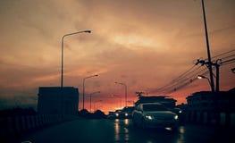 Дорога захода солнца Стоковое Фото