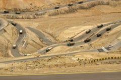 Дорога зигзага, шоссе Leh Сринагара, Ladakh, Джамму и Кашмир, Индия Стоковое Изображение RF