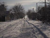 Дорога зимы в деревне стоковые фото