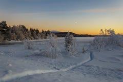 Дорога зимы в рассвете Стоковое Изображение