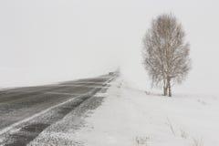 Дорога зимы, который нужно потерять прочь в морозных тумане и пурге Стоковые Изображения RF