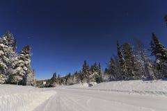 Дорога зимы к ноча Стоковые Фото