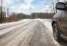 Дорога зимы опасная стоковая фотография