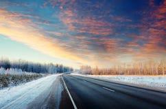 Дорога зимы Стоковые Фотографии RF