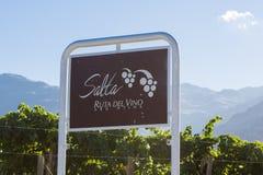 Дорога знака Salta, трасса вина с виноградниками ареальных стоковое изображение rf