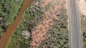 Дорога и горы национального парка Сиона, вида с воздуха стоковое изображение