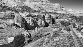 Дорога и горы национального парка Сиона, вида с воздуха стоковые изображения