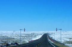 Дорога и снег Стоковое Изображение RF